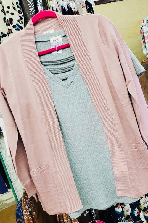Dust Lilac Basic Cardigan