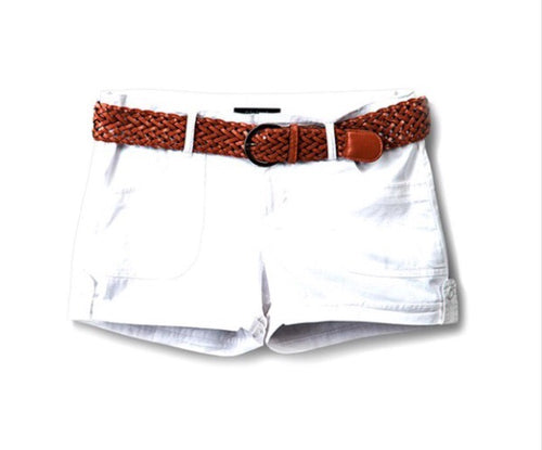 Belted Shorts-White