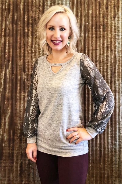 Grey Print Sleeve Top
