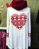 Heart Aztec Print Long Sleeve Top