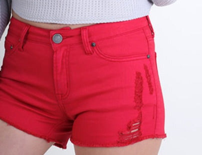 Distressed Red Shorts