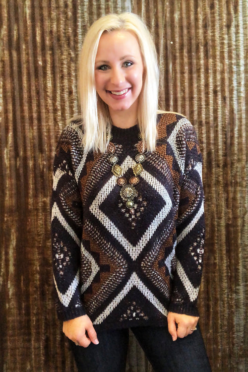 Navy Multi Tone Geo Sweater