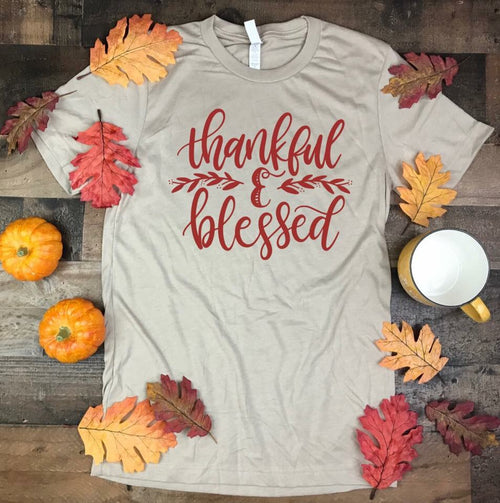 Taupe Thankful & Blessed Tee