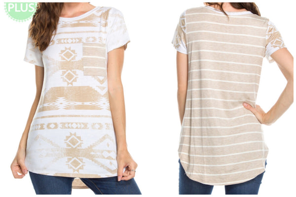PLUS Taupe Aztec & Stripe Tee