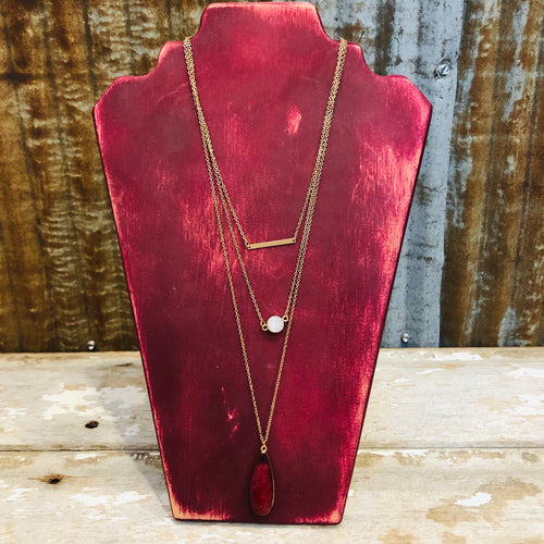 Gold Burgundy Layered Necklace