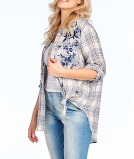 PLUS Embroidered Country Blue Plaid Top
