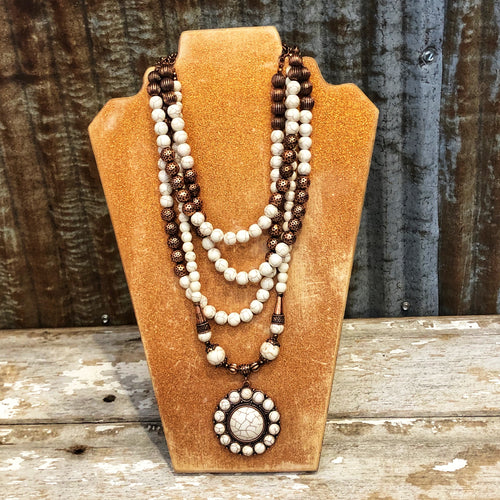 Bronze Cream Multi Layer Necklace