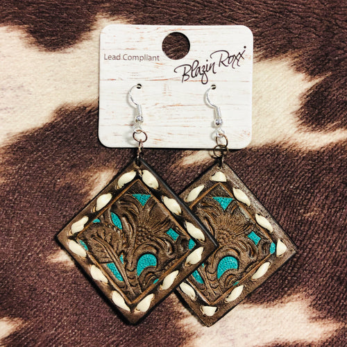 Whip Stitch Leather Earrings