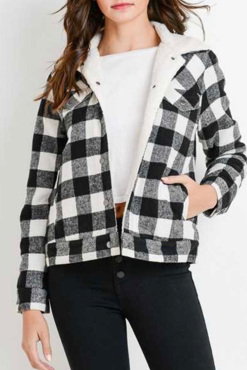 Buffalo Plaid Sherpa Lined Jacket