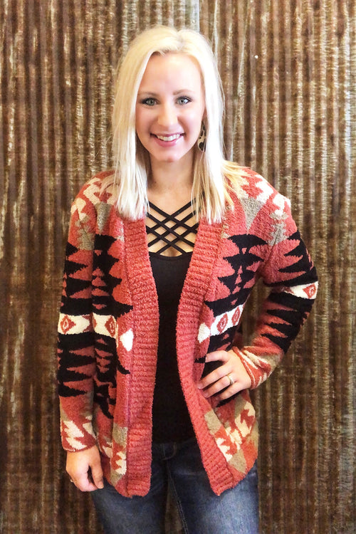 Red Berry Aztec Cardigan
