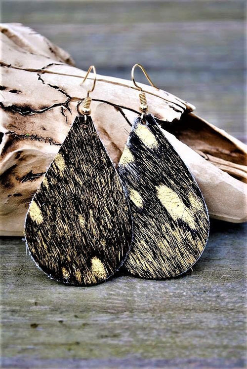 Black & Gold Metallic Leather Earrings