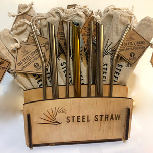 Wood Merchandising Display for Metal Straws