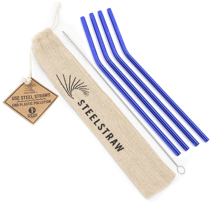Blue Curved Metal Straws Gift Set