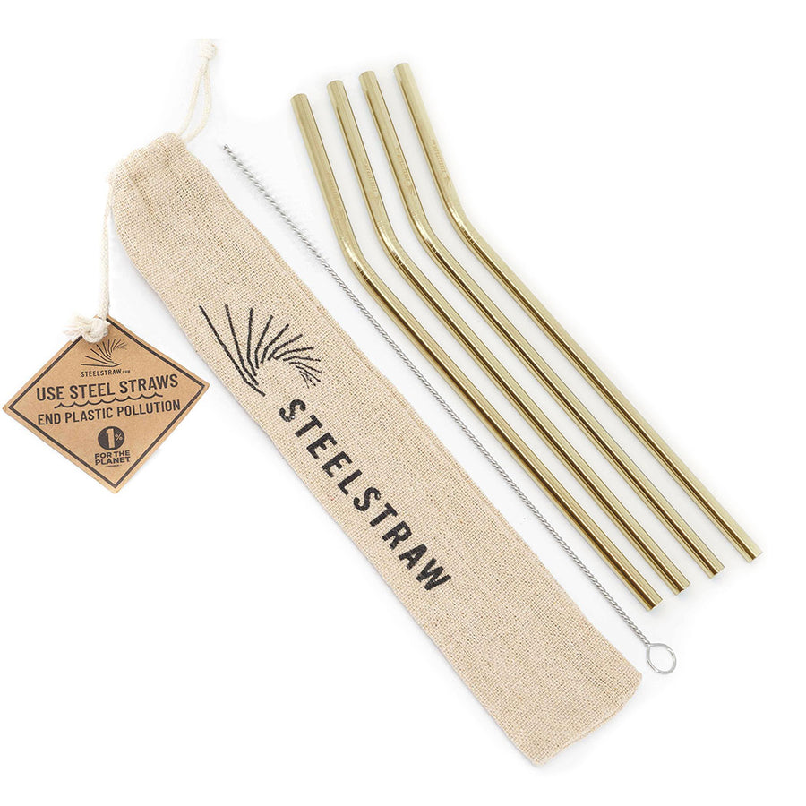 Wholesale Gold Curved Metal Straw Gift Set