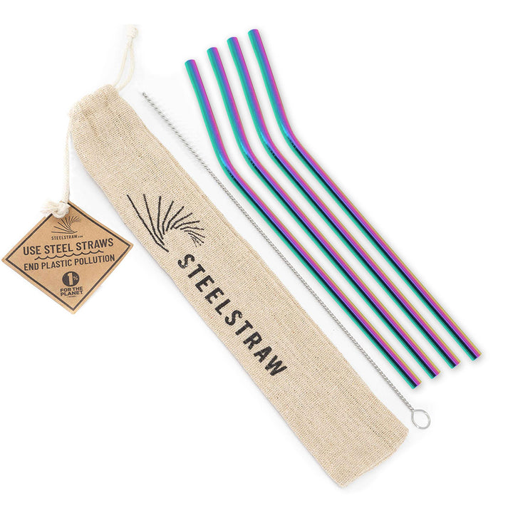 Wholesale Rainbow Curved Metal Straw Gift Set