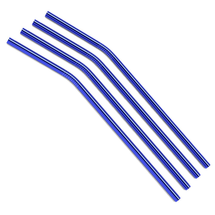 Bulk - Blue Curved Metal Straws