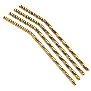 Gold Curved Metal Straws Gift Set