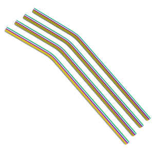 Bulk - Rainbow Curved Metal Straws
