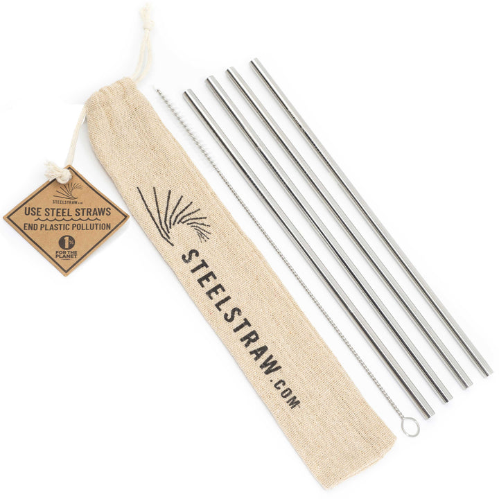 Straight Metal Straws Gift Set