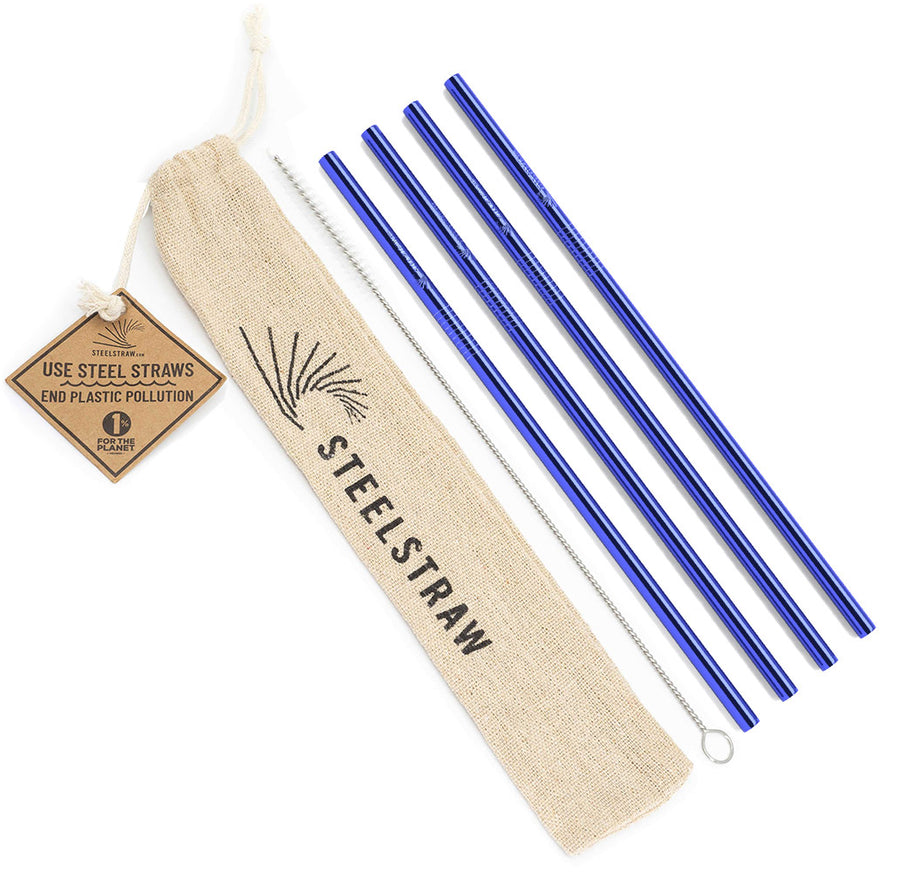 Wholesale Blue Straight Metal Straw Gift Set