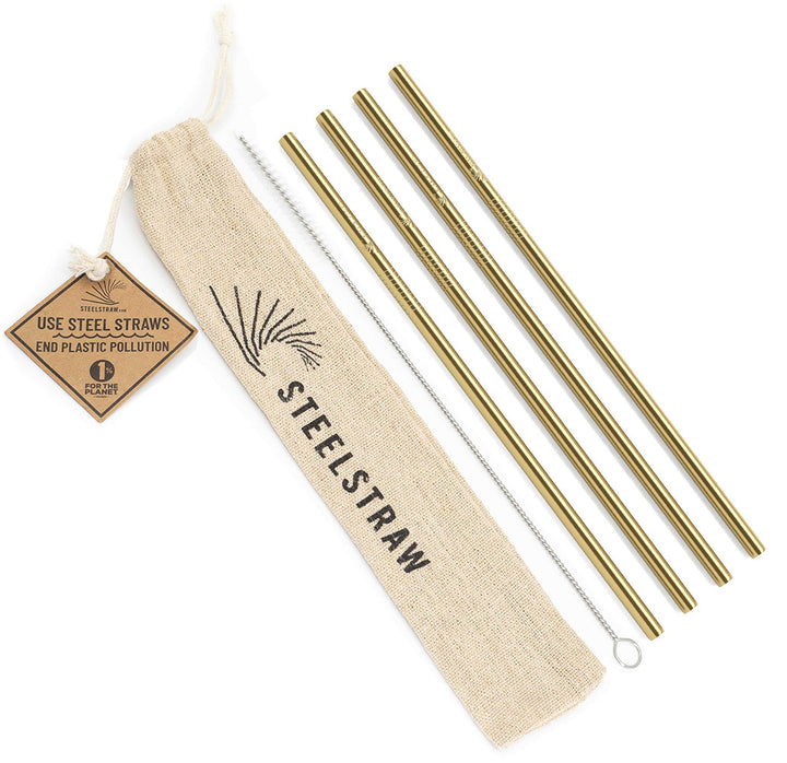 Gold Straight Metal Straws Gift Set
