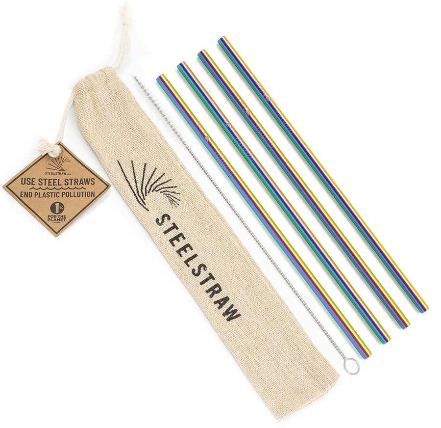 Wholesale Rainbow Straight Metal Straw Gift Set