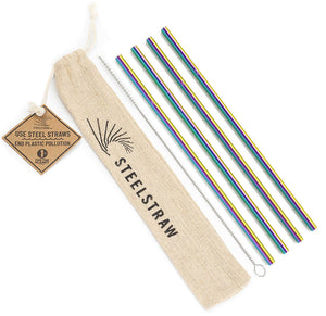 Rainbow Straight Metal Straws Gift Set