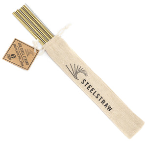 Wholesale Gold Straight Metal Straw Gift Set