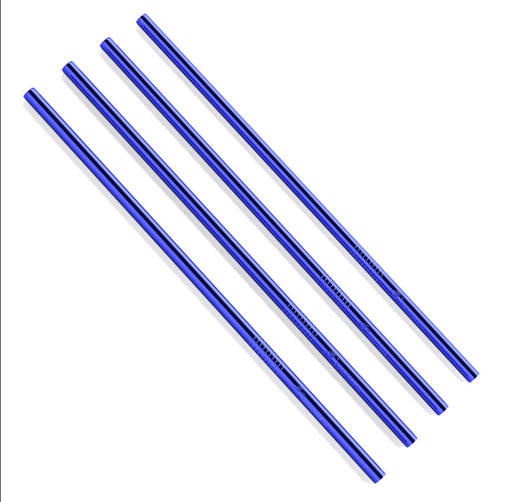 Bulk - Blue Straight Metal Straws
