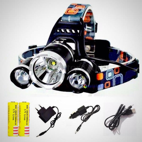 5000 Lumens Waterproof LED Headlamp Flashlight 4 Modes Hands Free Headlight with 18650 Rechargeable Batteries, USB Cable, Wall Charger for Outdoor Sports