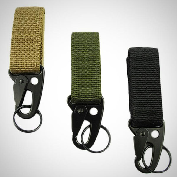 Tactical Gear Clip Band Gear Keeper Pouch Key Chain Nylon Belt Keychain EDC Molle Webbing Key Ring Holder Military Utility Hanger Keychain Hook Compatible with Molle Bags