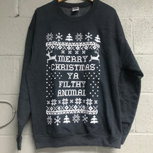 Merry Christmas YA Filthy Animal Sweatshirt Dark Heather Gray