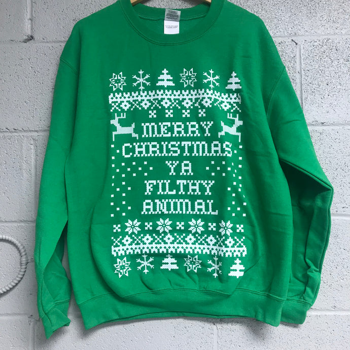 Merry Christmas YA Filthy Animal Sweatshirt Green