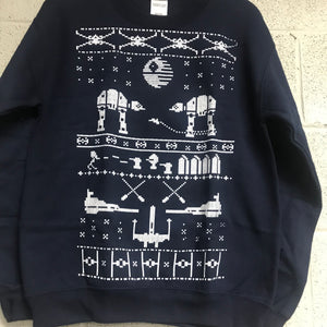 Star Wars Men's Ugly Christmas Sweatshirt Navy