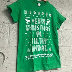 Merry Christmas YA Filthy Animal Short Sleeve Shirt Green