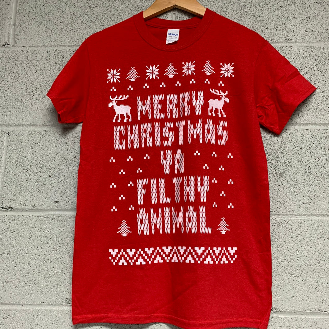 Merry Christmas YA Filthy Animal Short Sleeve Shirt Red