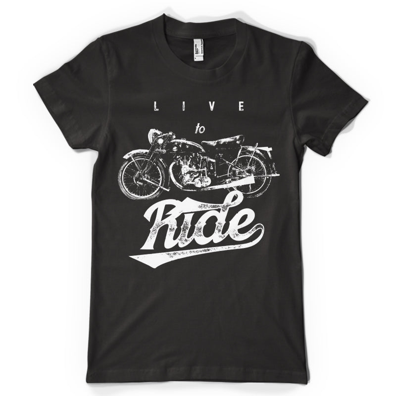 Live to Ride life inspiration T shirt Print on American Apparel Men's Shirt