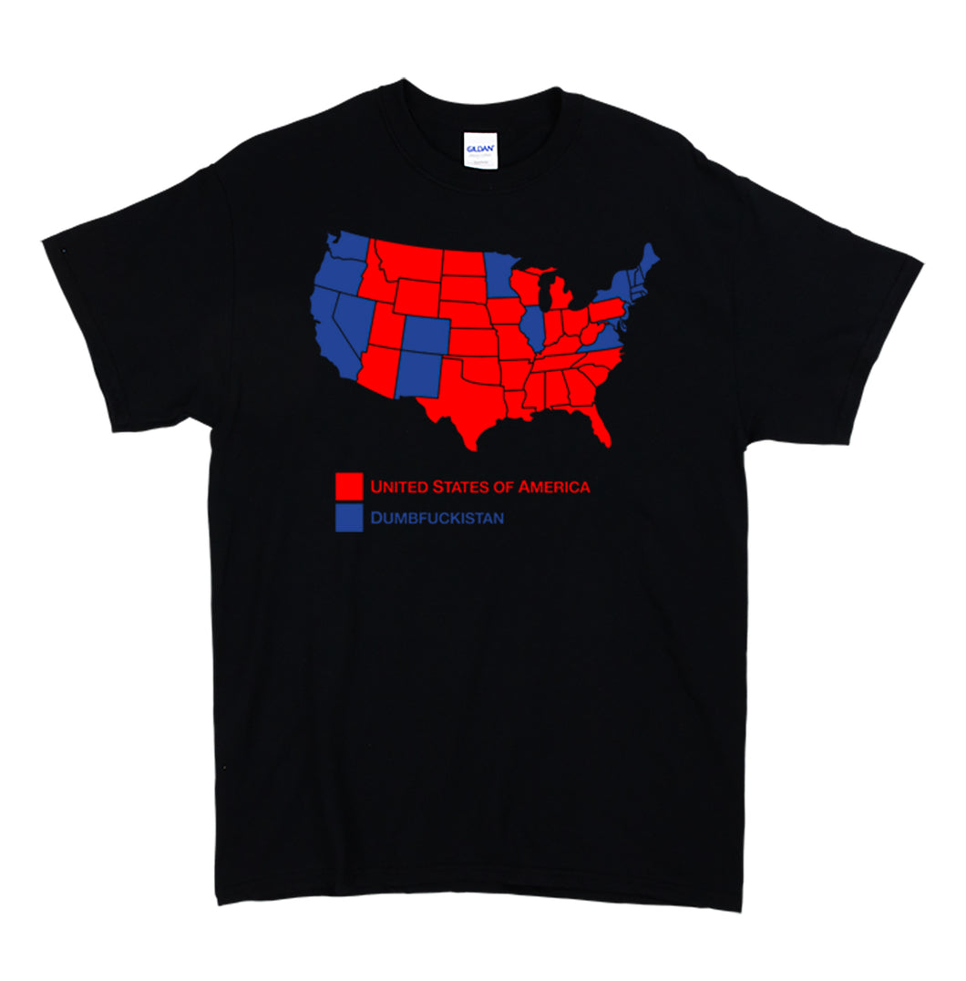 Dumbfuckistan Map Men's Black T shirt