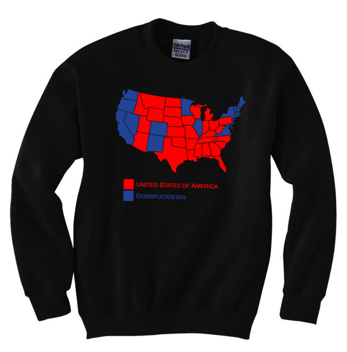 Dumbfuckistan Map Men's Black Sweatshirt