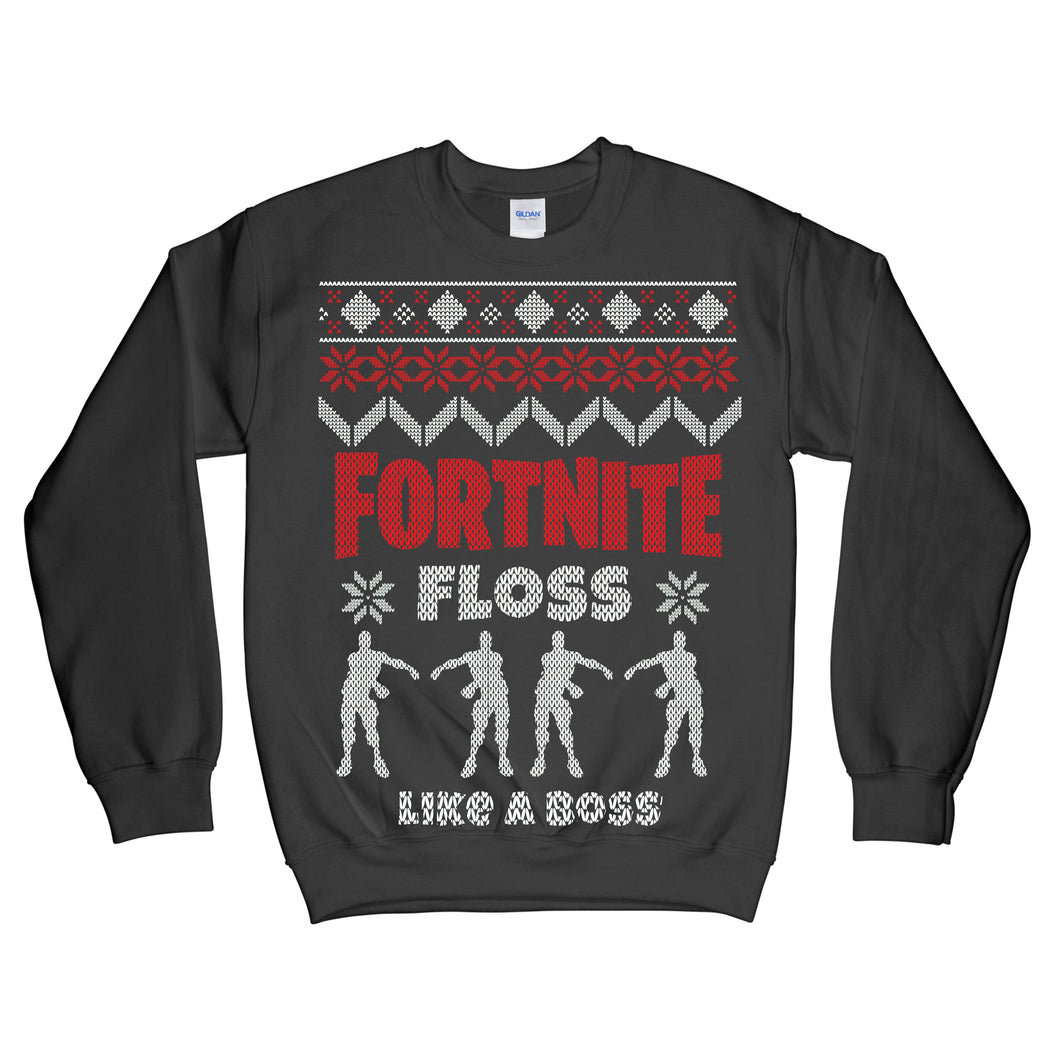 Fortnite Floss Like a Boss Ugly Christmas Sweatshirt Adult size