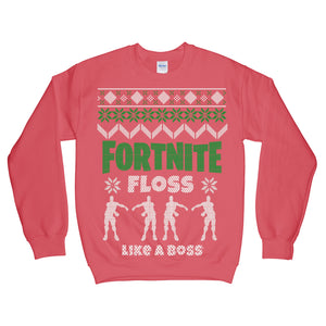 Fortnite Floss Like a Boss Christmas Sweatshirt Red