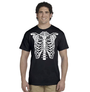 Skeleton Ribs T-Shirt Cage Skeleton T-Shirt Horror Halloween Geekery Costume Party Tee Shirt Tshirt Mens S-3Xl