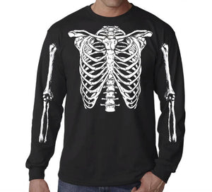 Skeleton Ribs T-Shirt Cage Skeleton T-Shirt Horror Halloween Geekery Costume Party Tee Shirt Tshirt Mens S-3Xl. Long Sleeve Shirt