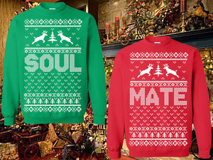 SET OF 2 Matching Sweatshirts Soul-Mate Christmas Parties Holiday Sweatshirt Unisex Sweatshirts