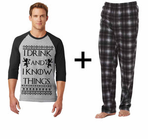 i drink and i know things Christmas Pajamas Set Christmas Pajamas Uni-sex Set set, included shirt and pant Pajamas Set