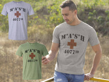 MASH 4077th Division Vintage Style Distressed  Heather Military Army Green T-Shirt Heather Grey T shirt