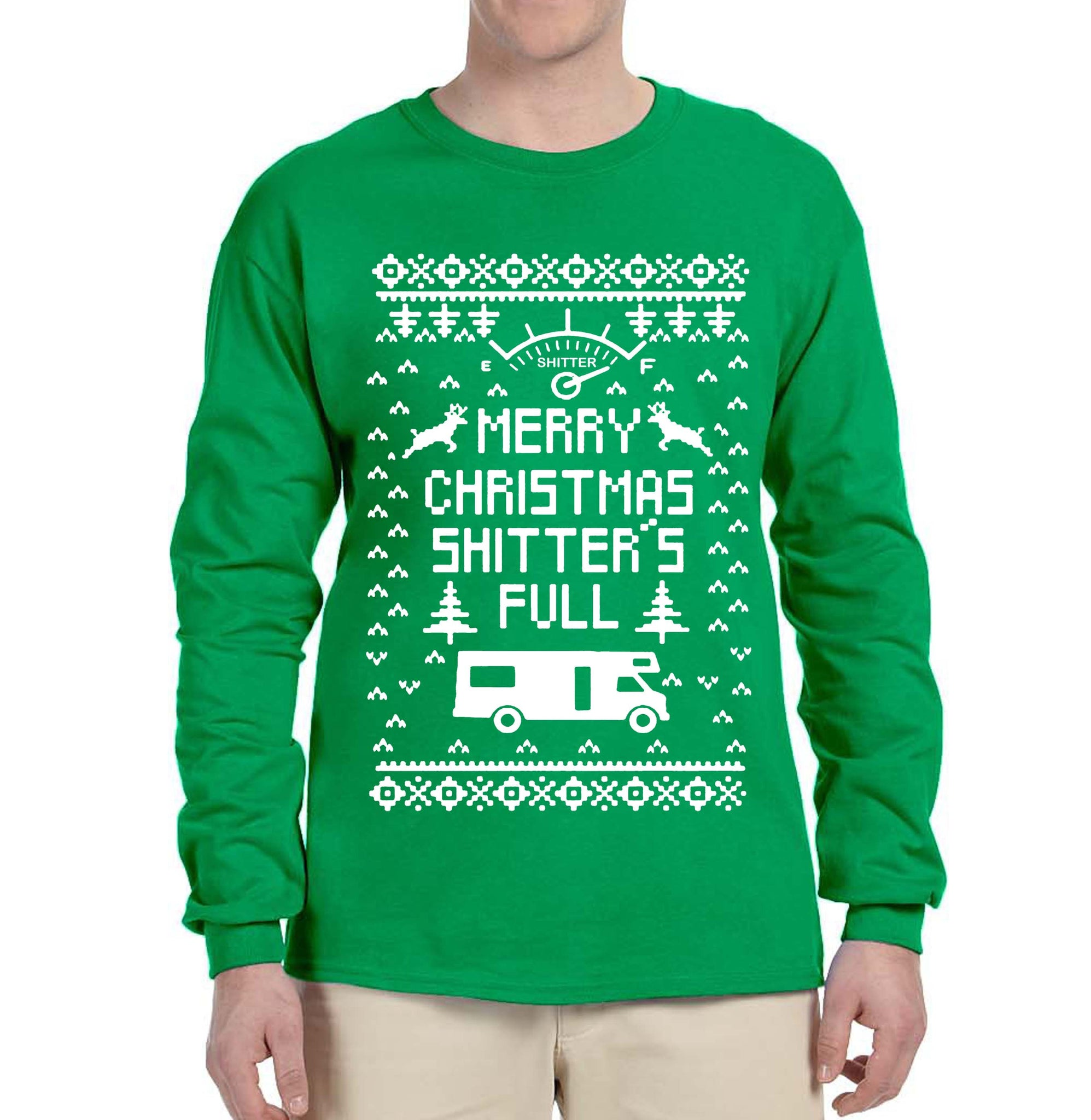 63e828573b ... Merry Christmas Shitters Full Ugly Christmas Sweater Shirt Christmas  Sweater Longsleeve Shirt Funny Christmas Tee Ugly ...