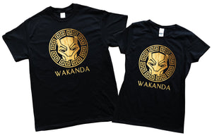 Black Panther Wakanda Gold Foil Wakanda Men Women Kid Shirt T shirt Hoodie Gold Foil Stamp