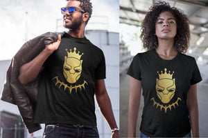 Black Panther King Gold Foil Wakanda Men Women Kid Shirt T shirt Hoodie Gold Foil Stamp
