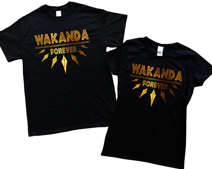 Wakanda Forever Black Panhter Gold Foil Wakanda Men Women Kid Shirt T shirt Hoodie Gold Foil Stamp